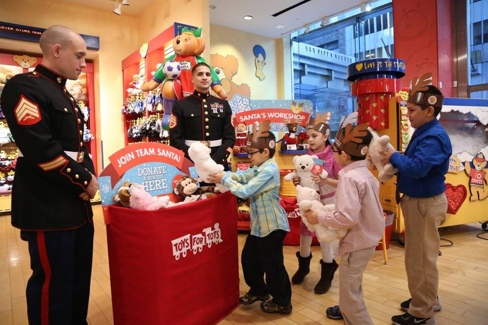 Toys for Tots Donation at Build a Bear Workshop