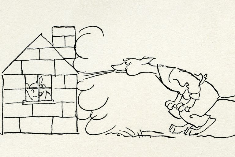 Line drawing of cartoon wolf blowing at a pig's house of bricks