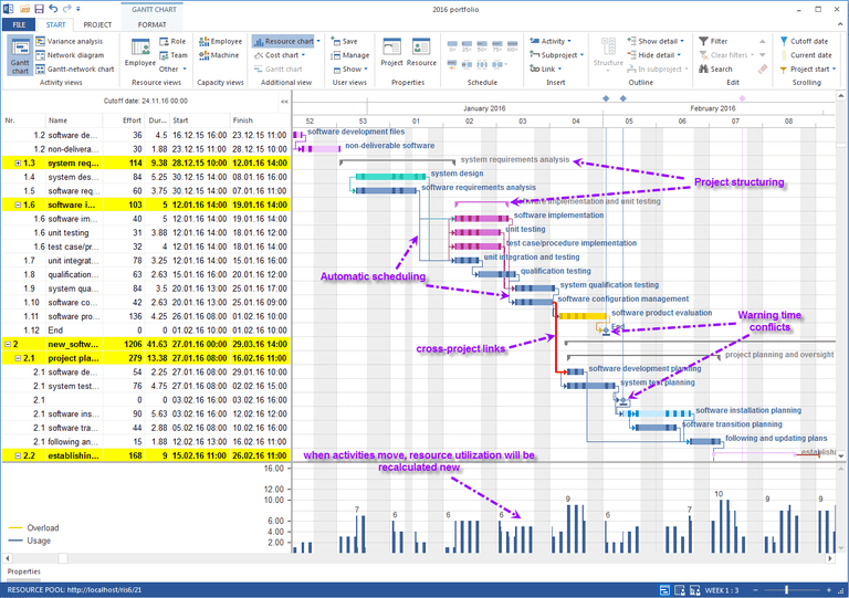 Rillsoft Project showing portfolio Gantt chart & Resource chart