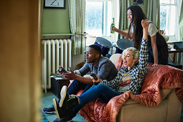 Friends playing games console