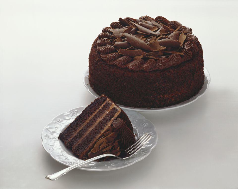 Triple Layer Chocolate Cake, Whole and Slice