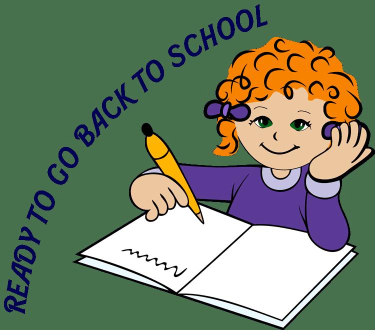 Clip Art of a Little Girl Writing