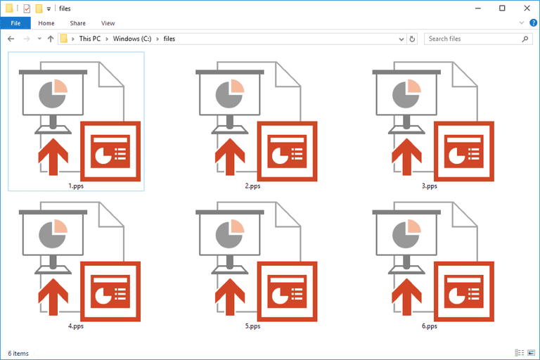 Screenshot of several PPS files in Windows 10