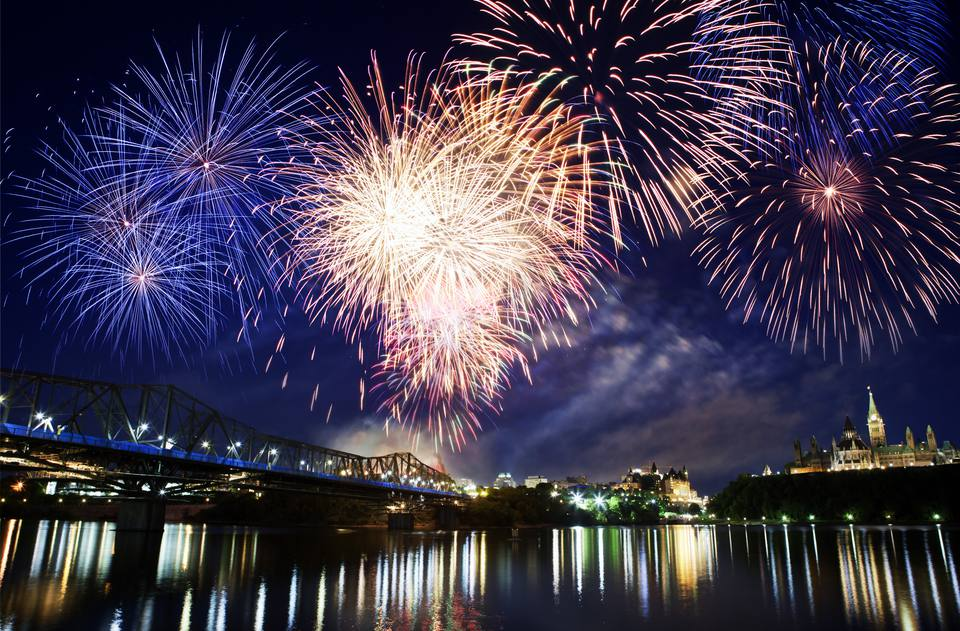 Fireworks on Canada Day reflection on Rideau Canal