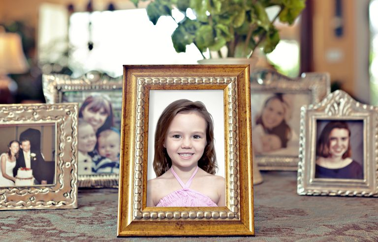 framed photo of girl