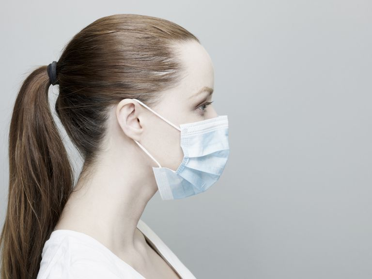 Young Woman Wearing a Surgical Mask.