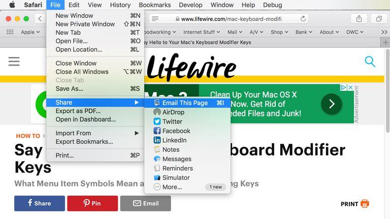 Safari Email Web Page