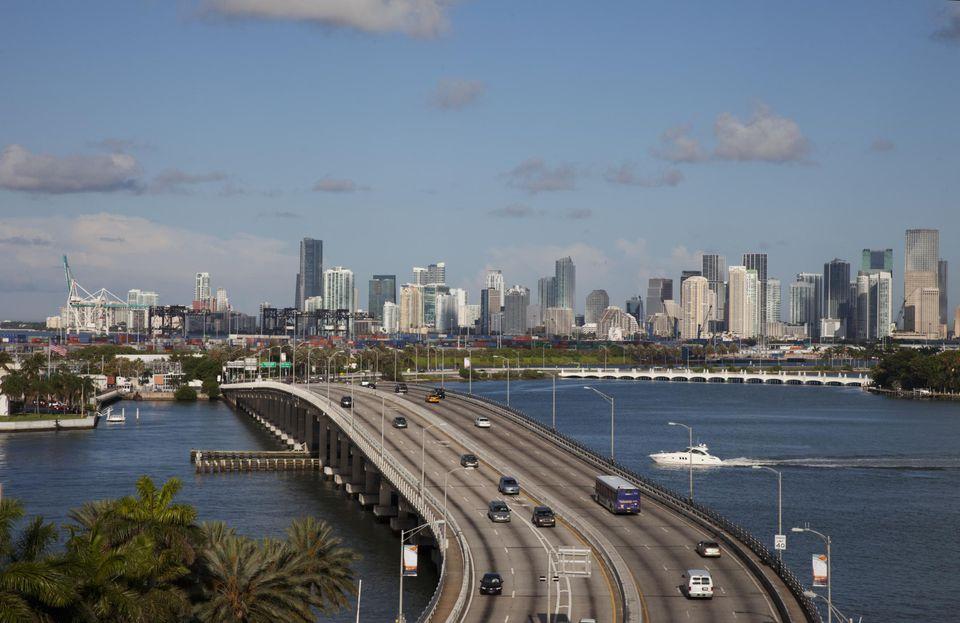 Miami skyline and macarthur causeway