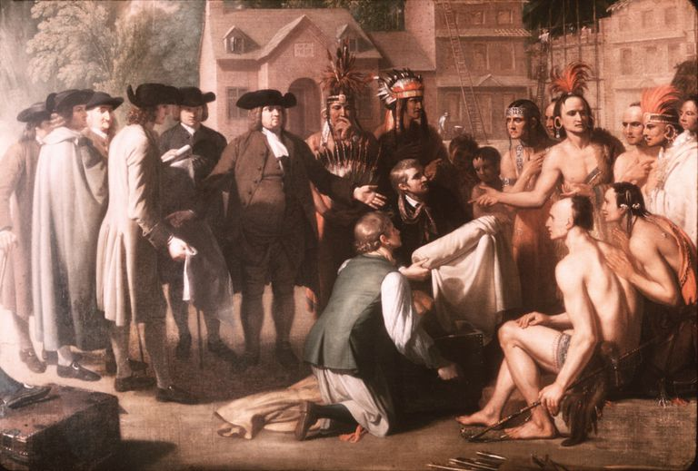 William Penn and colonial leaders meeting with Native Americans