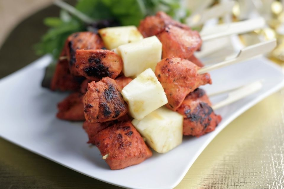 Indian finger foods for parties recipes chicken tikka and pineapple skewers forumfinder Images