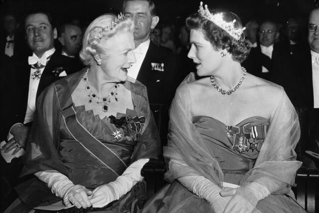 Lady Churchill and Daughter at 1953 Nobel Prize Ceremony