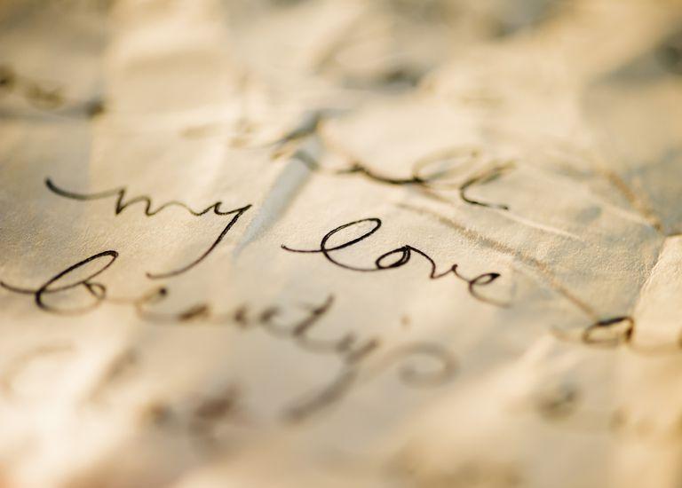 Close up of antique love letter on parchment