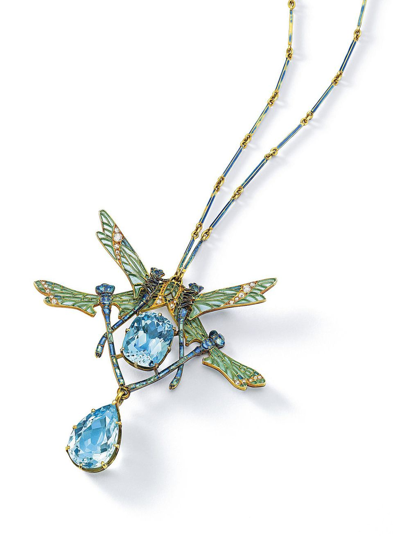"""Lalique """"QUATRE LIBELLULES"""" pendant necklace crafted of gold, aquamarine, diamond, and enamel, c. 1903-1904"""