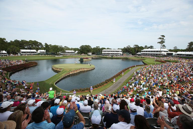 The 17th green surrounded by fans at the Stadium Course at TPC Sawgrass