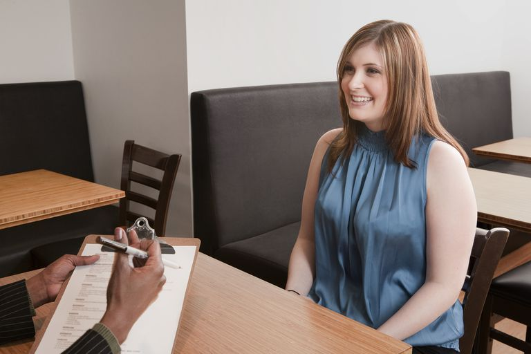 Woman in interview for job