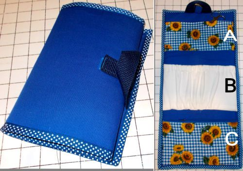 a free pattern to sew a travel case that folds up compact but holds what you need