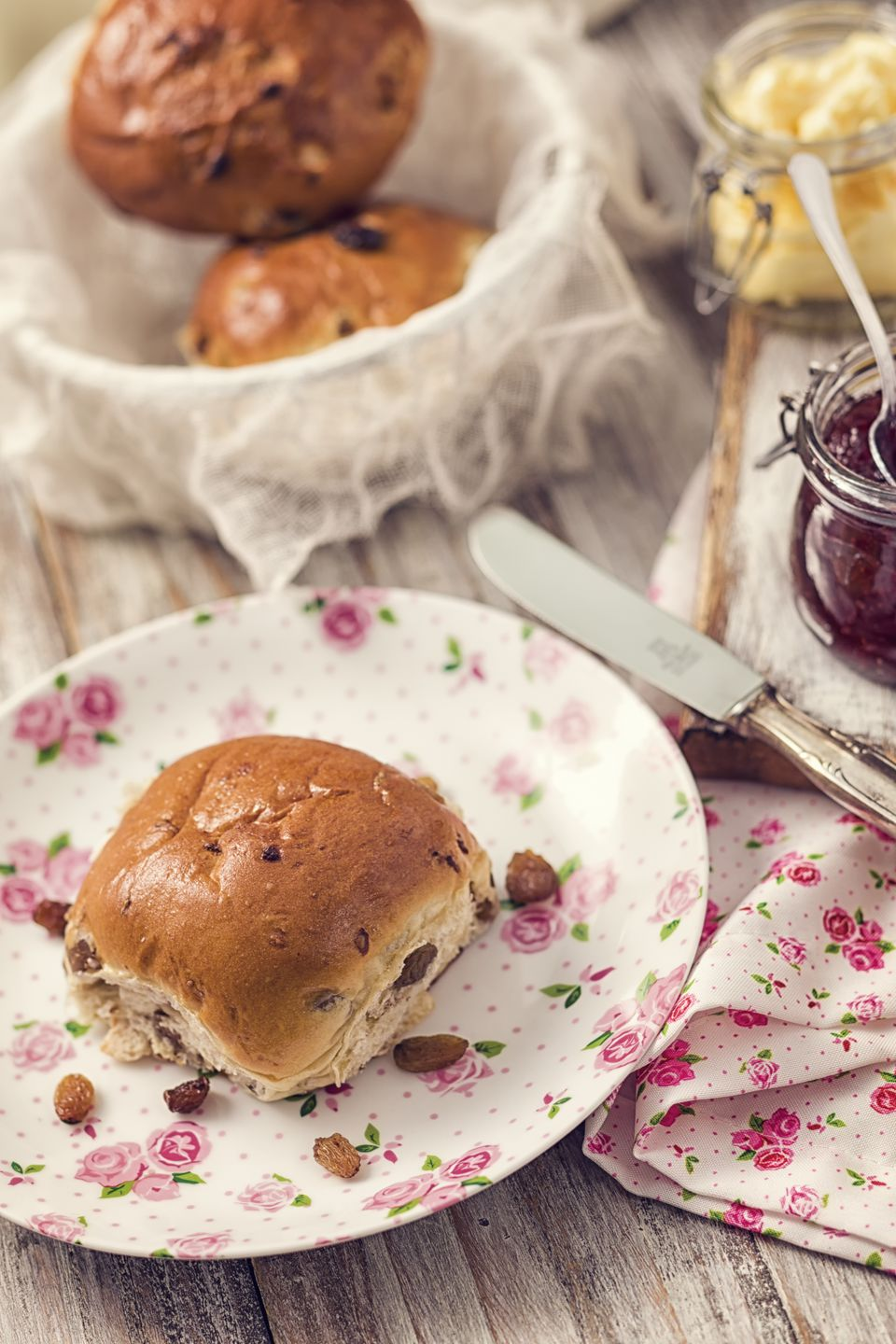 Dutch krentenbollen, butter and jam