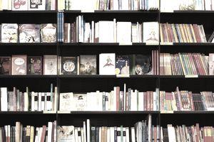 bookshelf in a bookstore