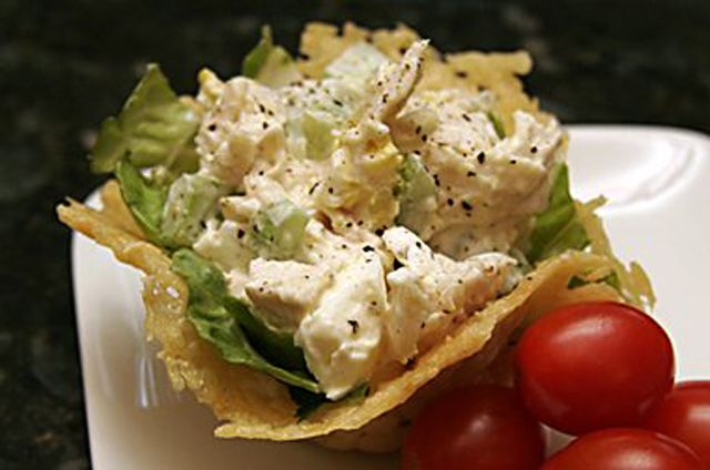 Chicken Salad in Parmesan Basket