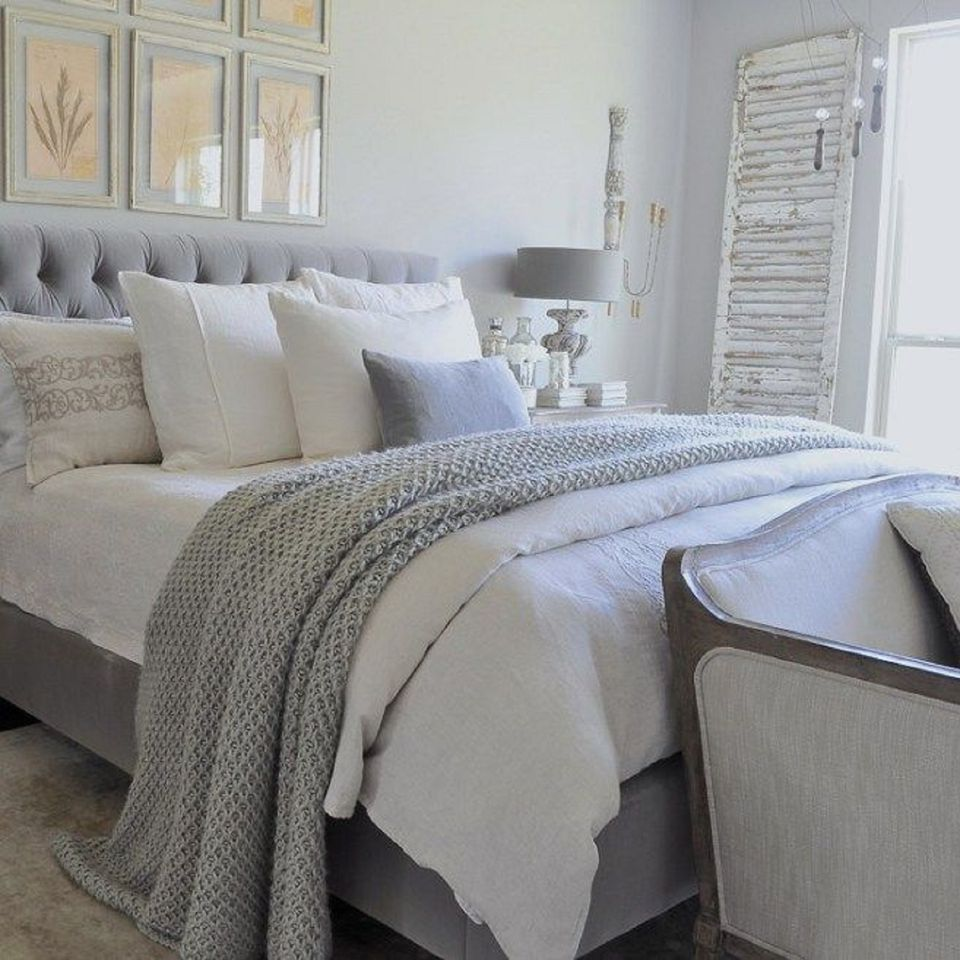gray and white peaceful bedroom decor gold designs - Master Bedroom Design Idea
