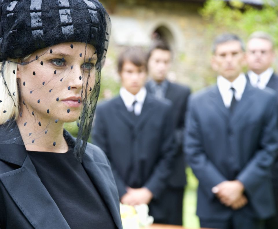 Widow at a funeral