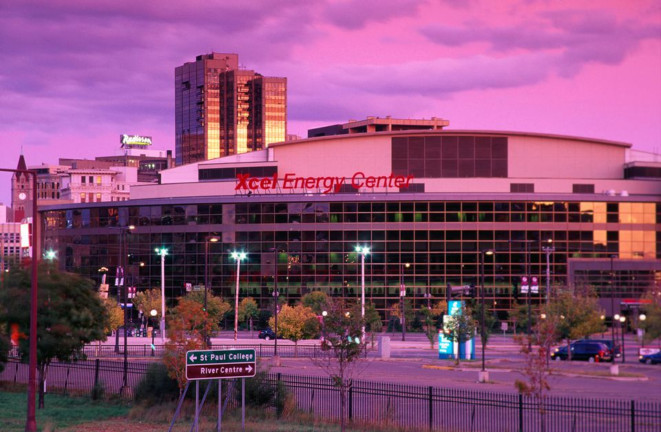 Xcel Energy Center Arena at dusk.