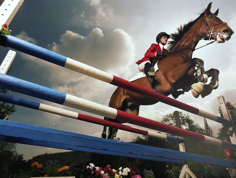 Rider on horse, jumping double rail gate, low angle