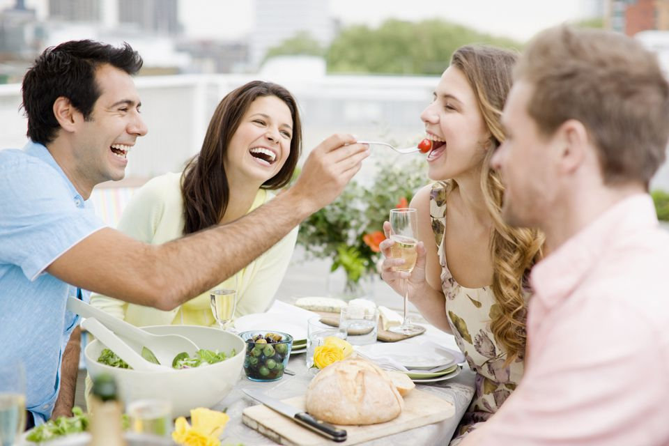 Couples having dinner out