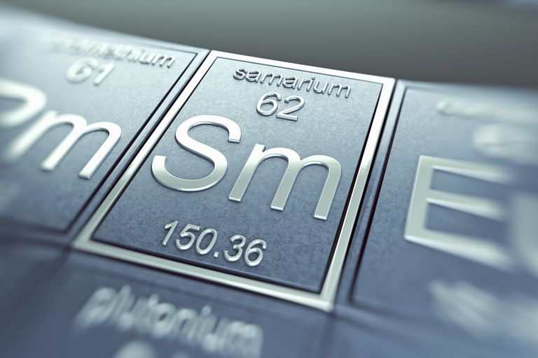 Samarium (Sm) is a lanthanide and rare earth element.