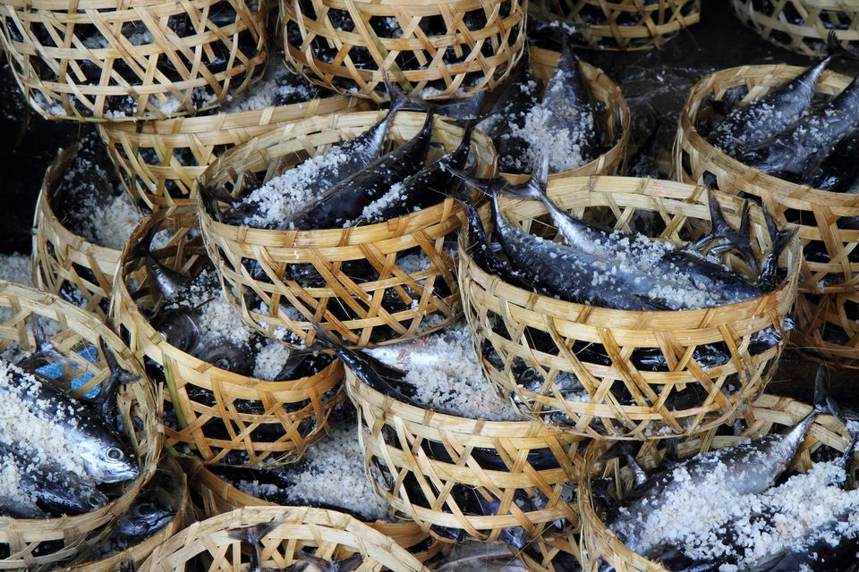 Baskets of Salted Freshly-Caught Fish