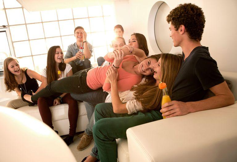 Teens at party