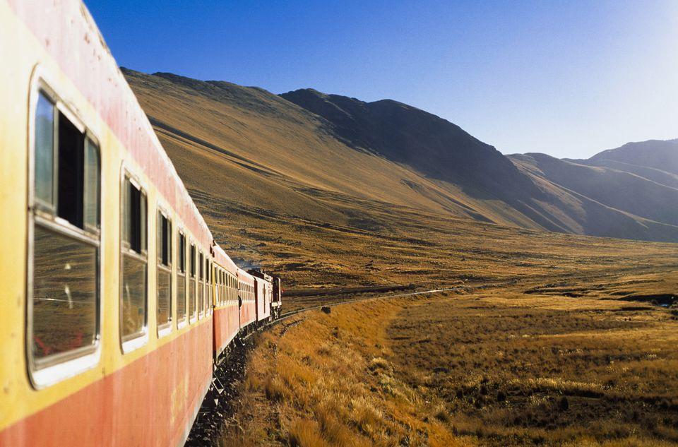 Train on mountain railroad track