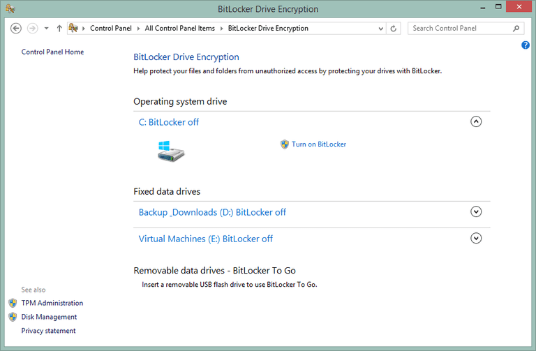 Screenshot of the BitLocker Drive Encryption Control Panel applet in Windows 8