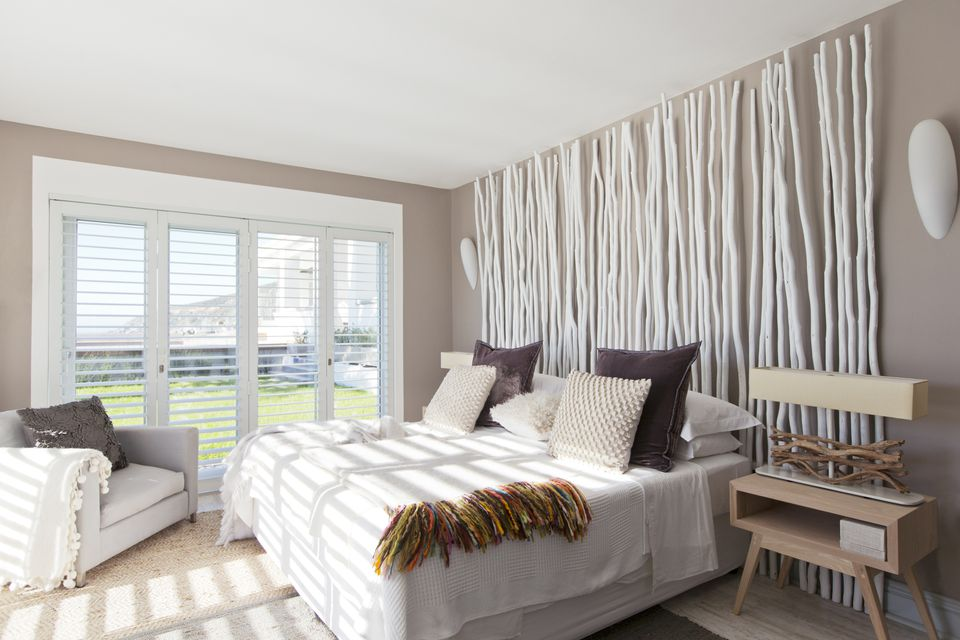 DIY twig wall in contemporary bedroom. Photos and Tips on Decorating a Contemporary Bedroom