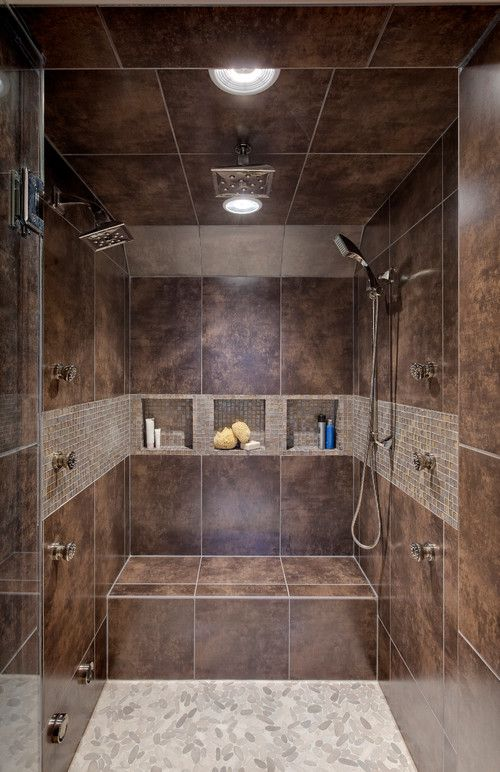Double Shower With Recessed Bench