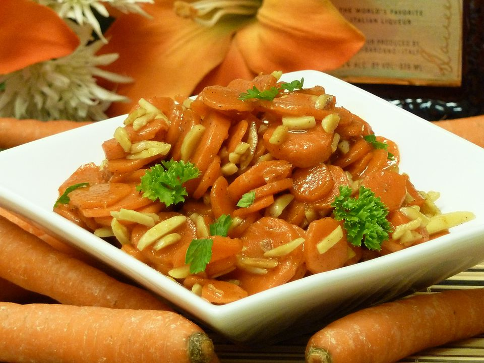 carrot recipe, amaretto, almonds, vegetable, side dish, receipts