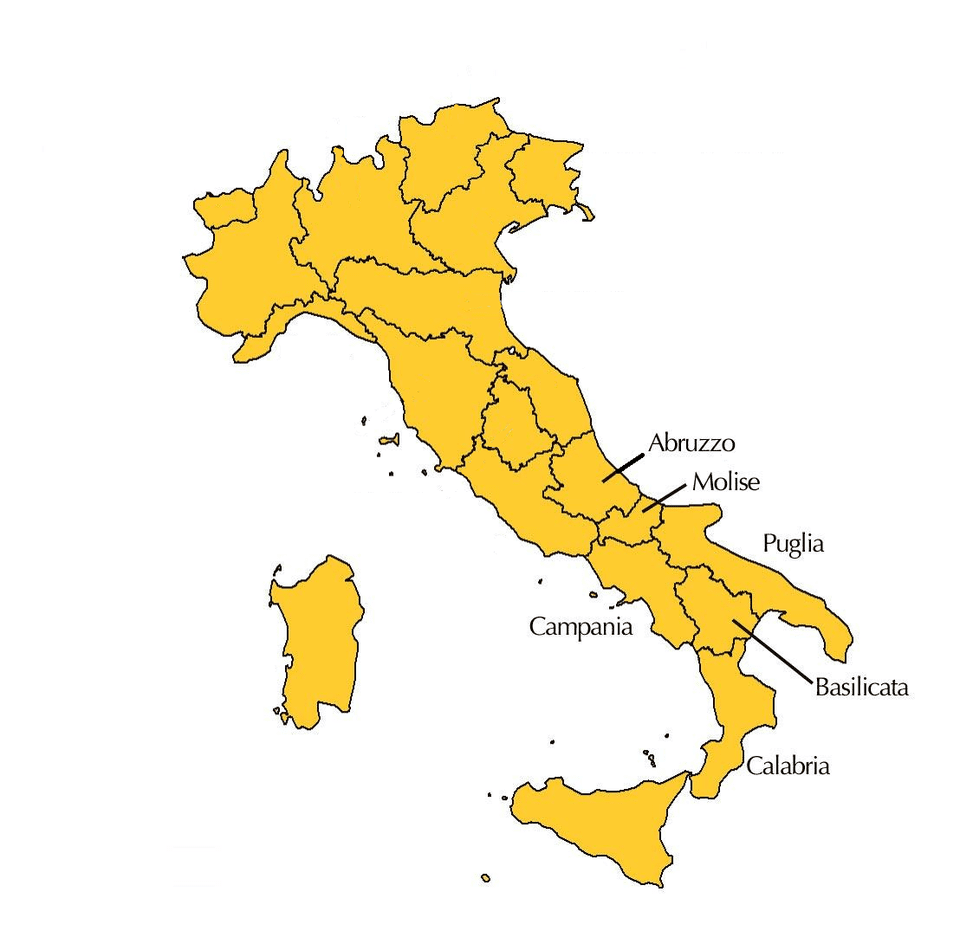 The six regions of Southern Italy.