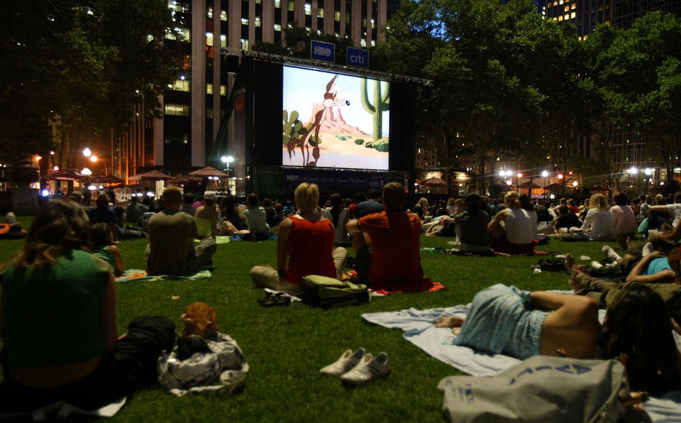 Audience Enjoying Movie in Bryant Park