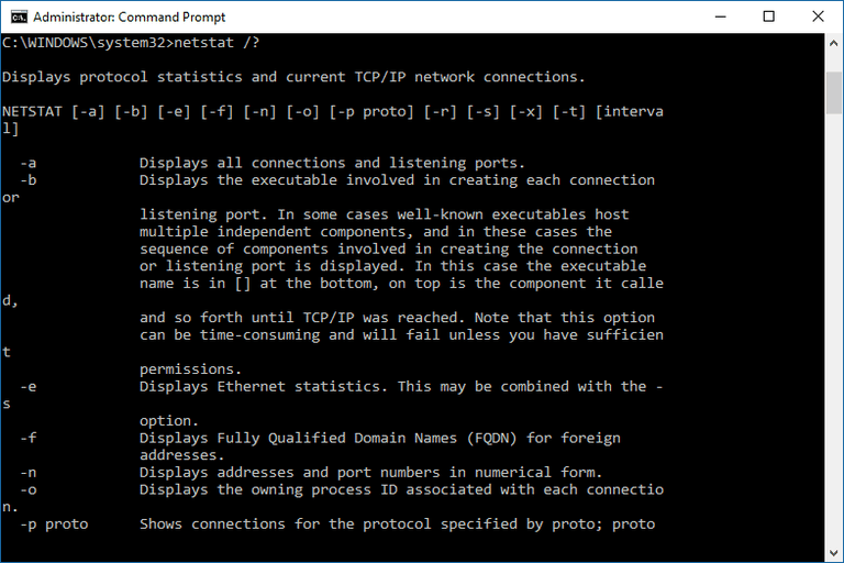 Screenshot of the netstat command in Windows