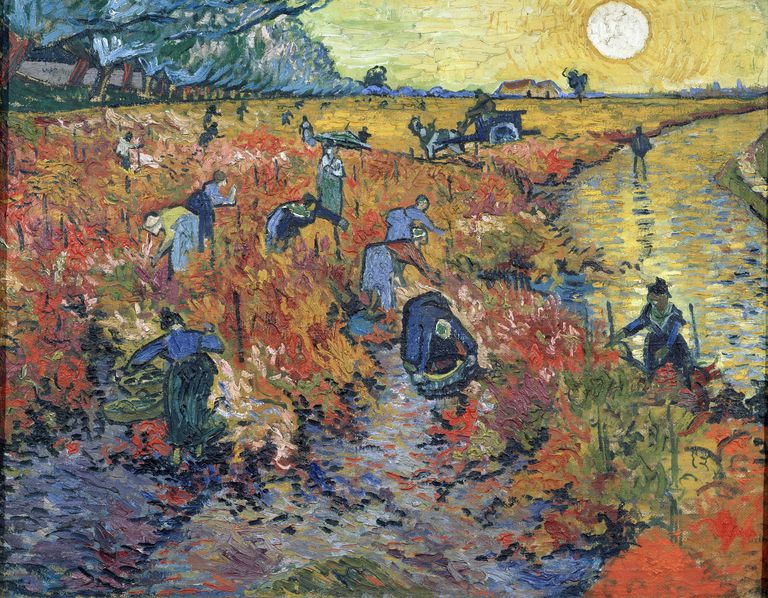 Painting by Vincent Van Gogh, The Red Vineyards at Arles, 1888