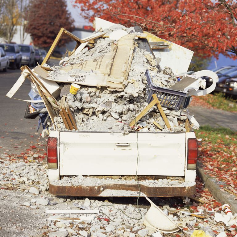 Truck bed filled with debris