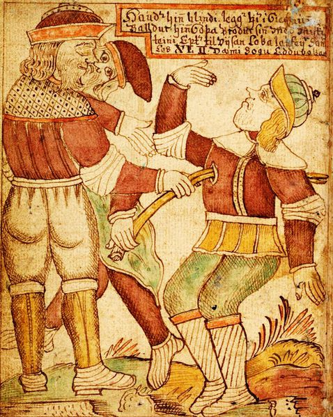 18th century Icelandic manuscript showing Balder being Killed by Hod and Loki.