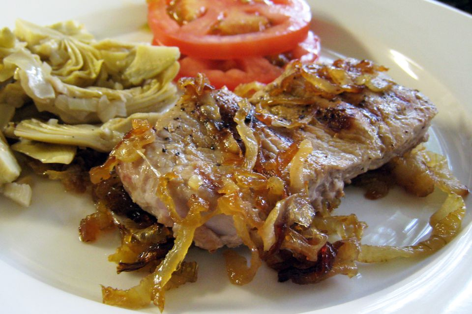 Veal Steaks With Caramelized Onions