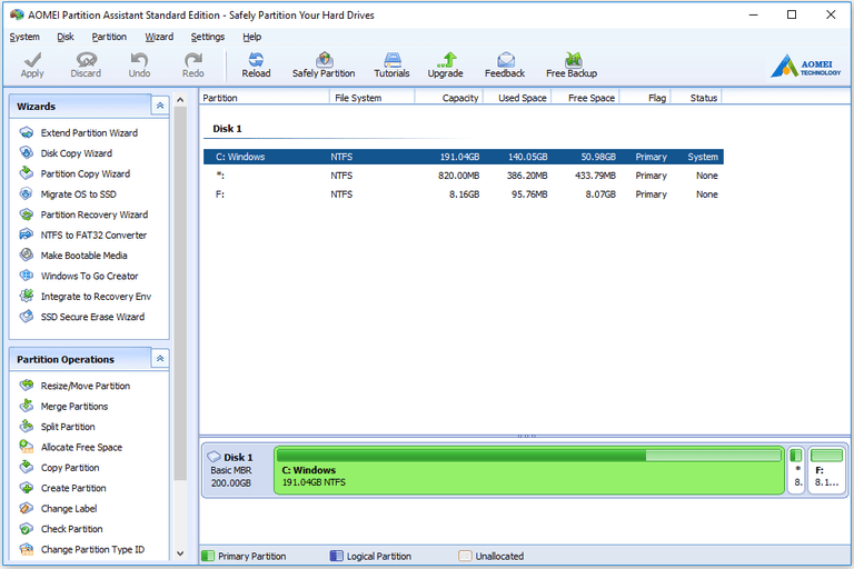 Screenshot of AOMEI Partition Assistant Standard Edition v7.0 in Windows 10