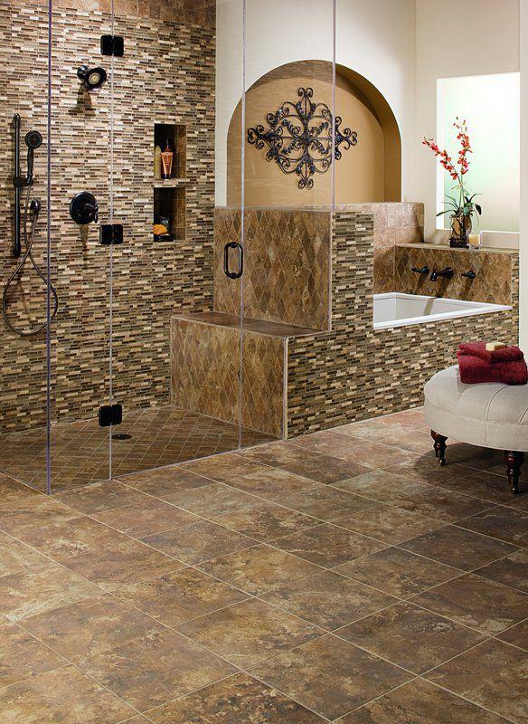Multi Colored Porcelain Bathroom Floor Tiles
