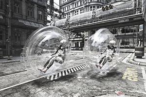 Futuristic women riding in transparent transportation