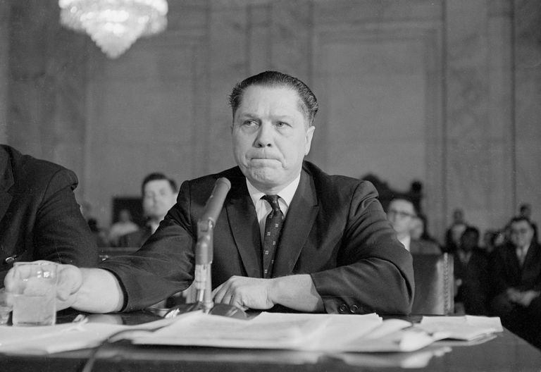 Photograph of Jimmy Hoffa testifying before a Senate committee.