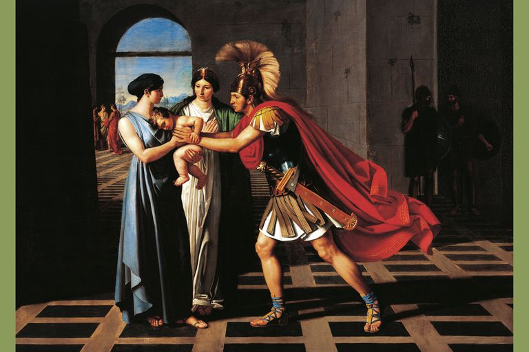 Andromache intercepting Hector at Scaean Gate, by Fernando Castelli, 1811 oil painting