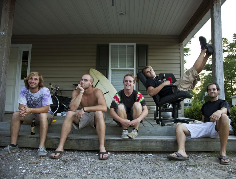 5 guys on a porch