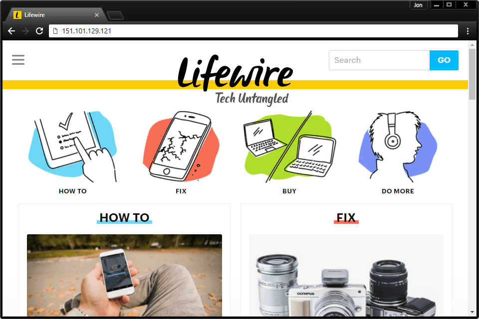 Screenshot showing how to access Lifewire.com from its IP address